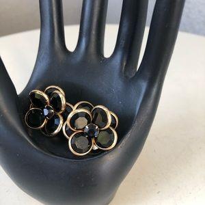 """Vintage clipon earrings jet black glass flower 1"""""""